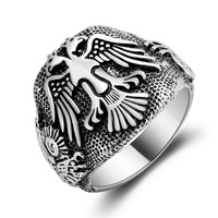 High quality of ancient tribal totem ring punk wind two-headed birds ring