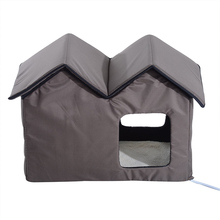 Heating Window Double Dog House With Dog Cat Bed