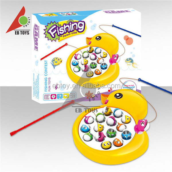 Big yellow duck fishing electric turntable kids toy import with light