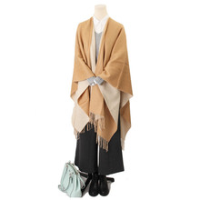 inner mongolia factory directly wholesale winter fine wool shawl double side women poncho cape