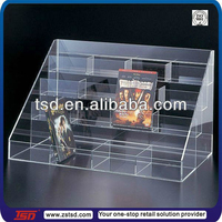 TSD-A354 Custom store 4 tier countertop acrylic cd holder rack display stand/dvd cd display rack/plexiglass cd holder