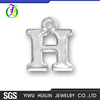 CN185671 Yiwu Huilin jewelry Alphabet shape Letter H Silver plated Pendant Silver letter charms Jewellery