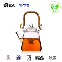 Japanese China glass teapot with bamboo handle