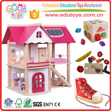 Pretend Play Doll House, Lovely Pink Doll House, Factory Sale Wooden Doll House for kids