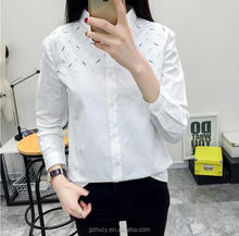 White cotton embroidery ladies lace fashion korean formal blouses