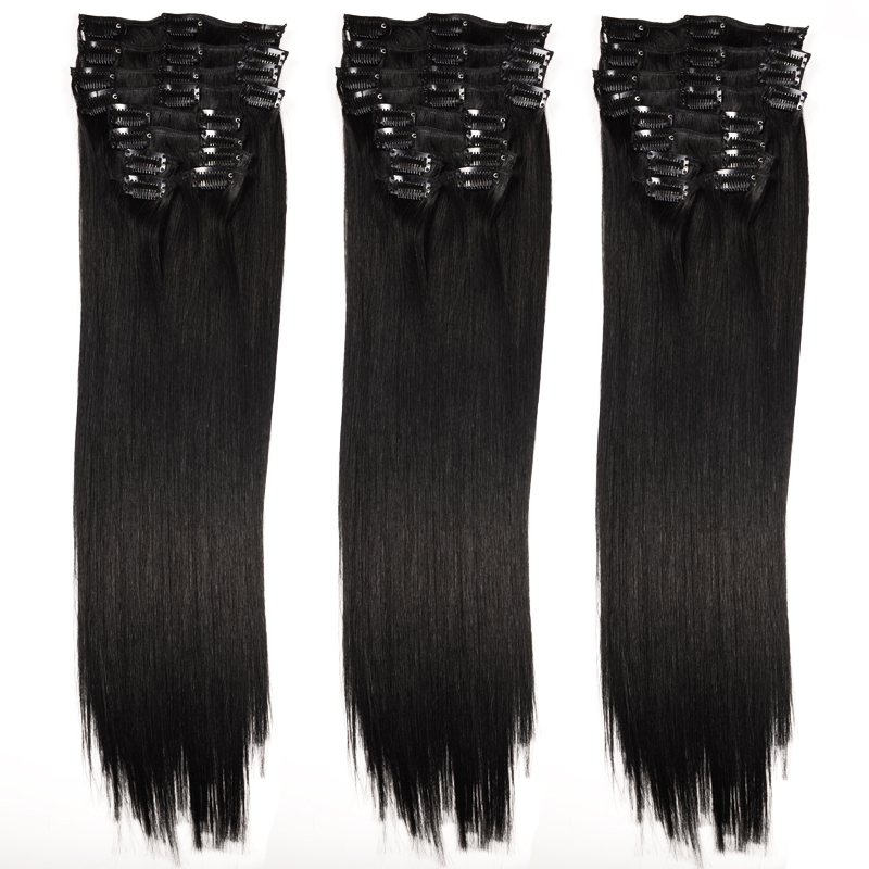 Natural Black 1 Set Full Head Clip In Human Hair Extensions