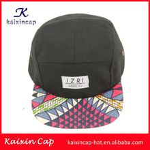 Native print underbrim printing waxed cotton 5 panel hats