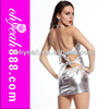 Silver Color Back Open Stylish Sexy Girl Tight Mini Dress