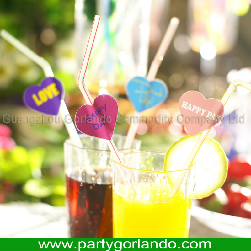 Hot selling lovely heart shape topper drinking cocktail decorative straws