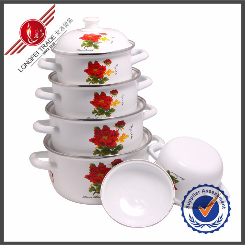 5pcs as seen on tv cooking pot classic enamel ceramic cookware sets