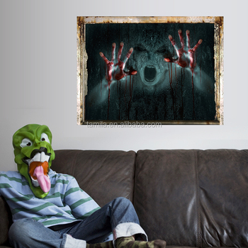 2017 New Arrival halloween wall sticker Horrible Ghost Festival New Promotional 3D halloween window sticker