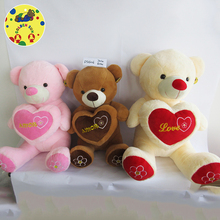 Brown plush stuffed bear soft toy, teddy bear shaped plush valentine day bear with heart for girl