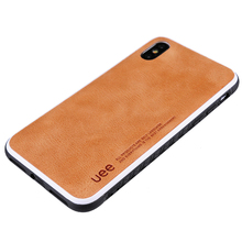 Simple Stamping Logo Genuine Leather Mobile Phone Cover Case For Iphone X