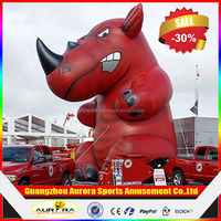 Advertising giant red inflatable rhino animal model with customized branding