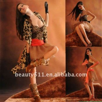 Astergarden Real Photo Strapless Red Sashed leopard sexy Party Evening Dress AS131