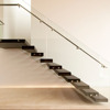 Modern decorative residential wrought iron indoor stair railings with frameless glass balustarde