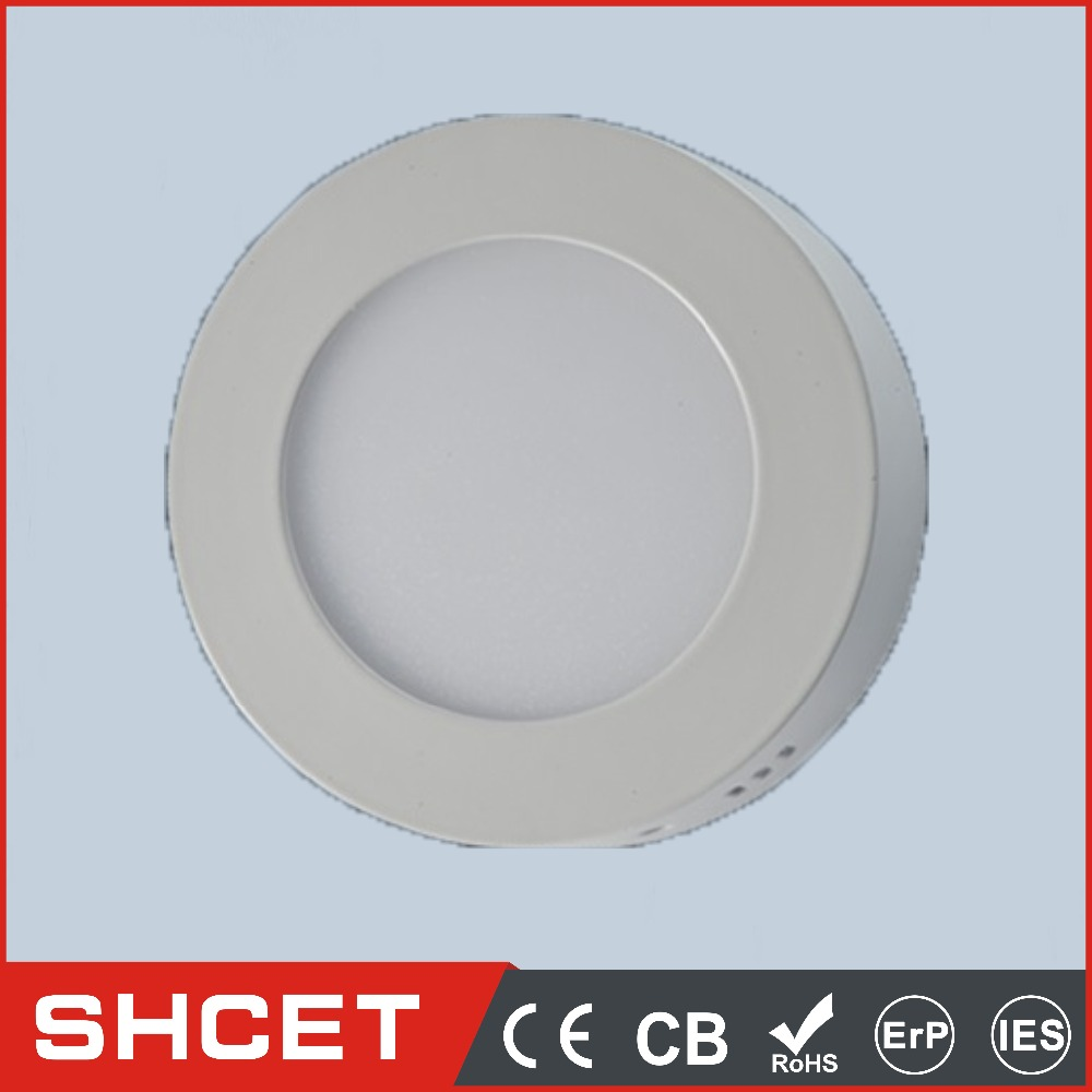 white color round surface ceiling mounted led solar panel light 3w