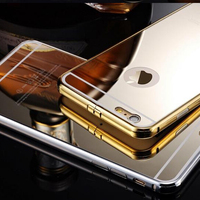 Metal Gold Bumper Case For iPhone 6 Bling Bling Mirror Alumnium Back Case Cover Bumper For iPhone 6/ 6 Plus