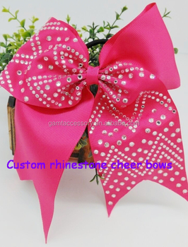 wholesale fluro pink bows with the clear rhinestones for hair accessory