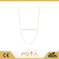 POYA Jewelry Italy 18k Gold-Flashed 925 Sterling Silver 1.3mm Fine Cable Nickel Free Chain Necklace
