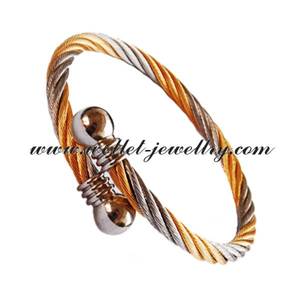 2014 alibaba.com supplier white with yellow stripes stainless steel twisted cable cuff bangle bracelet