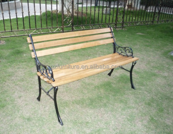 Metal Outdoor Benches Cast Iron Wood Slats Garden Bench