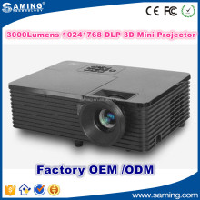 2016 Newest high quality 3000 Lumen 1024*768 Mini DLP 3D Projector