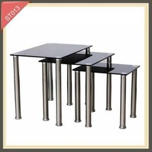 Black tempered glass and aluminium computer desk side table ST013