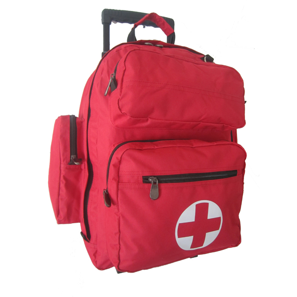Sports Teams First Aid Trolley Backpack with Removable Wheels Bottom Set