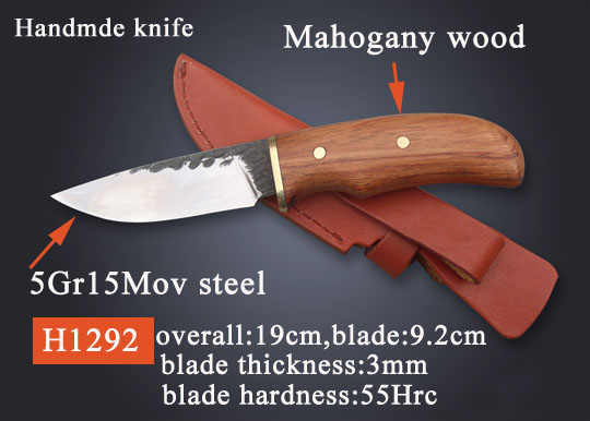 Wood handle handmade hunting knife