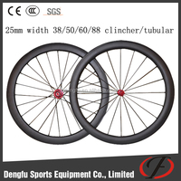 25mm carbon wheelset taiwan 38/50/60/88mm clincher/tubular wheelset for road bicycle