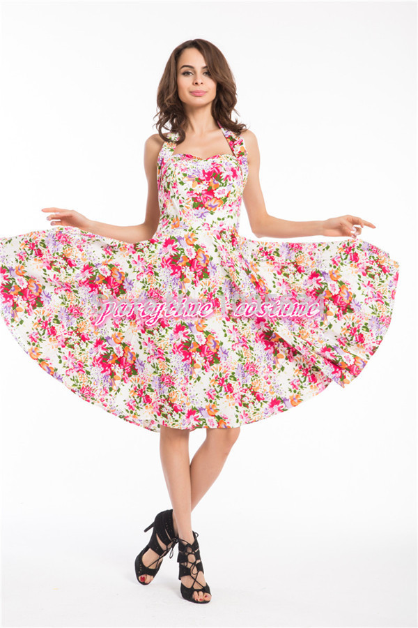Buy Free Shipping New Halterneck Floral Pinup 1950s Swing Retro