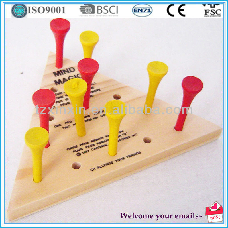 Wooden Triangle peg board game for promotion gifts