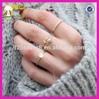 Wholesale sterling silver 14K gold plated delicate rings cheap set of 4 gold rings