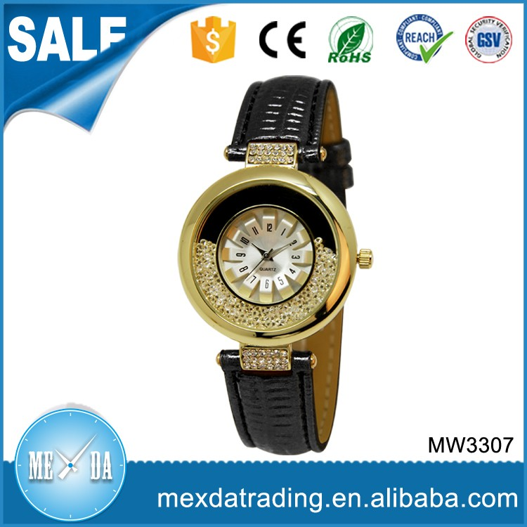 2016 Women luxury diamond gold- printing case fashion leather watch