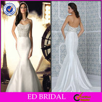 Fabulous Heavy Beaded Trim Satin Sweetheart Mermaid Fishtail Ebay Wedding Dresses