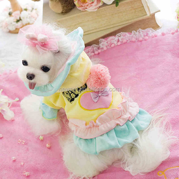 Top level stylish ice cream style with hat 3 colors wholesale winter pet dog clothes