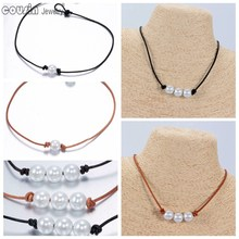 New Arrivals Pearl Leather Choker 2 styles Simulated Pearl Handmade Necklace