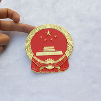 China National Coat Of Arm Metal Enamel Badges & Emblem 24K Gold