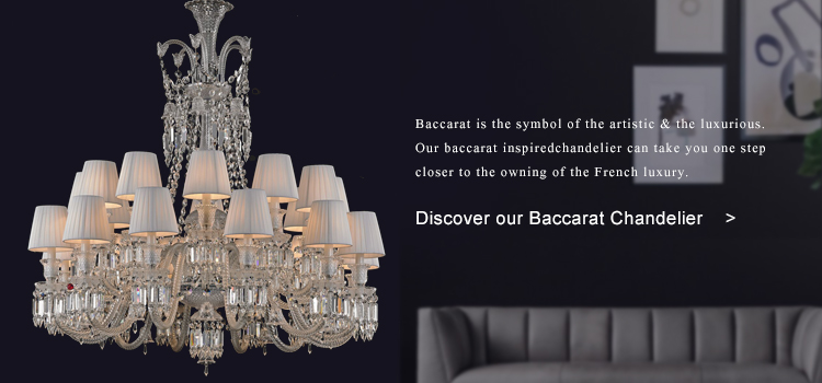 Baccarat 24 Light Zenith Crystal Chandelier with Black Lampshade