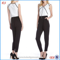 Stylish Black And White Zip Front Colorblock Ladies Jumpsuit Custom Formal Jumpsuits