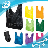 Custom Waterproof Recyclable 190T Polyester Foldable Ripstop Nylon Shopping Tote Carry Bags with Samll Pouch/Tie Closure/ button