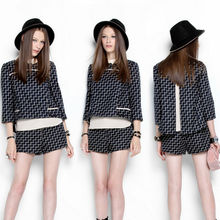 C82920A Fashion handsome striped shirt + pants piece fitted/women shorts sets