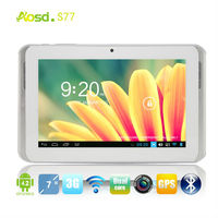 aosd S77 hd 1024*600 mtk6572 sim build in 3G dual core 7 inch mobile phone tablet pc