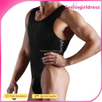 Black Men Cheap Faux Leather Stretch Mankini Sexy Bodysuits Men