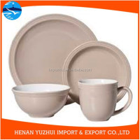 durable color glazed dinnerware, 16 peces sand stone dinner set