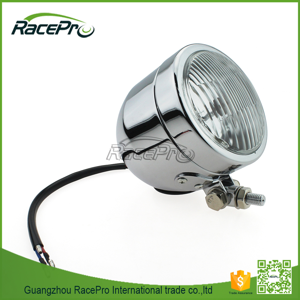 4-1/4'' Universal Gloss Halogen Motorcycle LED Headlight For Harley Chopper Bobber Cafe Racer