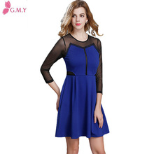 navy blue net matching and hollow out at waist dress for women