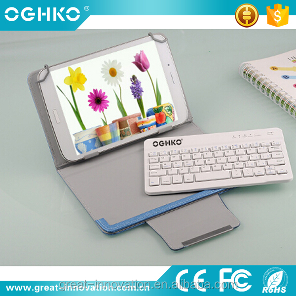 Latest mini wireless keyboard with leather case for tablet ipad