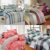 4 pcs microfiber printed comforter set quilt bed cover bed sheet